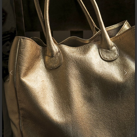 fc2a134f8e1 Erica Tanov Metallic Gold Leather Tote